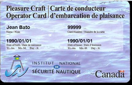 carte permis bateau canada